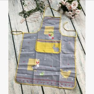 Easter apron spring pattern bunny yellow gray tie
